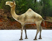 Vintage Brass Camel With Decorative Etching