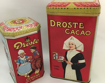 Two Vintage Droste Netherlands Cocoa Tins, Haarlem Holland Retro Colorful Kitchen Decor, European Chocolate Cacao Tins, Retro Graphics