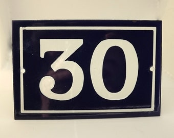 French enamel house number 30 in navy blue and white