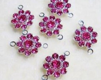 Swarovski Crystal Flowers Jewelry Links 10mm with 2 loops Connectors Rose Pink