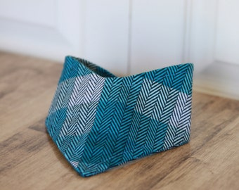 Bandana Bib in Blue Herringbone