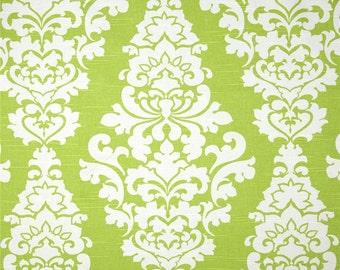 "Two  96"" x 50""  Custom  Curtain Panels - Large Berlin Damask - Kiwi Green"