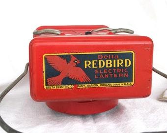 Redbird lantern vintage flashlight Delta Electric Dry Cell flashlight handles red enamel clean