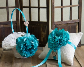 Set of Ring Bearer Pillow and White flower girl basket you pick the color of ribbon and flower plus initials