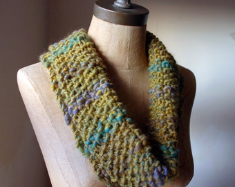Winter Woodland Stroll, Knitted Snood in autumnal greens and yellows, Women's Cowl, Autumn Fashion