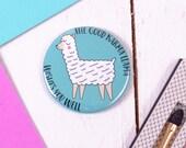 Llama Pocket Mirror  Encouragement Good Karma Gift - Cute Make Up Mirror - Animal Lovers Gift - Alpaca Gift - Llama Gift - New Job - Exams