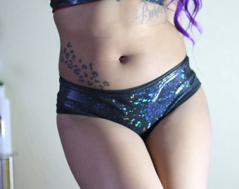 Black Rainbow Hologram Undies Cheeky or Thong S-L Made to Order