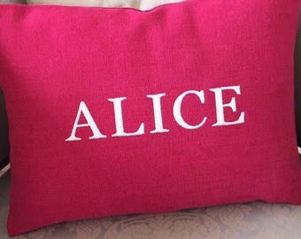 Custom Embroidered pillow cover with personalised name