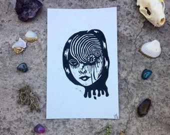 Junji Ito Ouzumaki Inspired Print; Deep Spiral Dark Universe Linocut Print (1)
