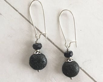 Essential Oil Diffuser Earrings Black Lava Stone and Bead with Silver Bead Cap