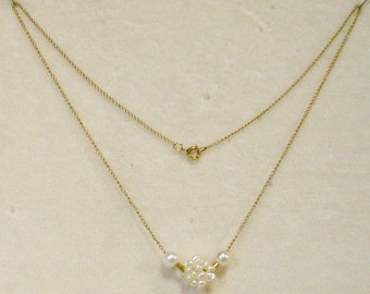 Vintage 12kt Yellow Gold with Cultured Pearls Necklace