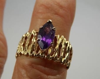 Amethyst Solitaire Ring 1.59Cts Organic Design Yellow Gold 10K 4.7gm size 7.75 Wedding Feb Birthstone