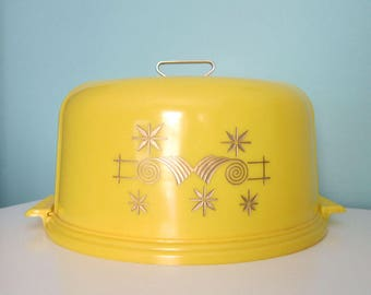 Yellow Cake Keeper, Lemon Yellow Cake Saver, Lustro-Ware Cake Keeper, Mid Century Atomic Yellow Cake Cover, Yellow Cake Dome, Cake Carrier