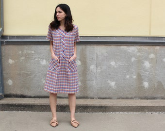 vintage plaid cotton summer muumuu