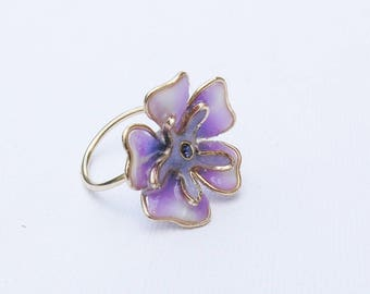 Ring purple. Floral ring. Ring flower. Open ring. Nature inspired ring. Botanical ring. Purple ring, Anniversary gift, Purple flower.