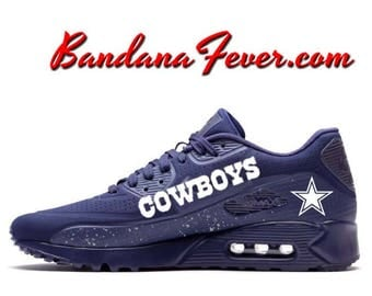 watch 468f7 d89a2 ... Custom Cowboys Nike Air Max 90 Shoes Ultra Midnight Blue, FREE  SHIPPING, Cowboys Blue Bandana Nike Air Force Ones ...