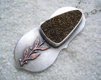 Handmade Drusy Flower Necklace  Drusy Jewelry  Artisan Jewelry