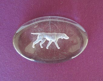 Fostoria Oval Glass Paperweight Hunting Dog Pointer Retriever