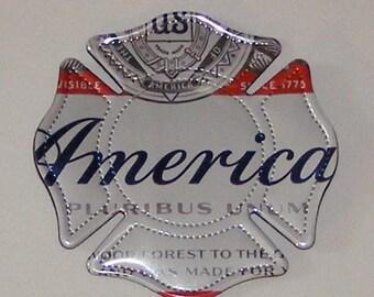 FIREMAN SHIELD Symbol - Budweiser America Beer Can