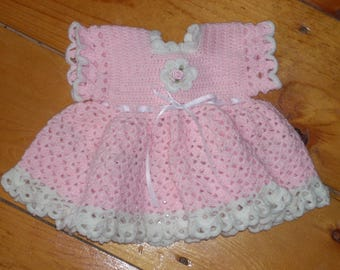 Pink Crocheted Baby Dress - 3 months