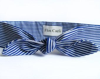 Striped Bow Headband - Fabric Headband - Hair Accessories - Hair Bow - Red Headband - Navy Blue Headband - Turban Style Headband