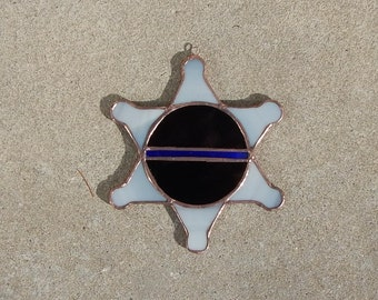 Stained Glass, Thin Blue Line, Sun Catcher, Law Enforcement, Star Suncatcher, Black and Blue, Glass Police Badge
