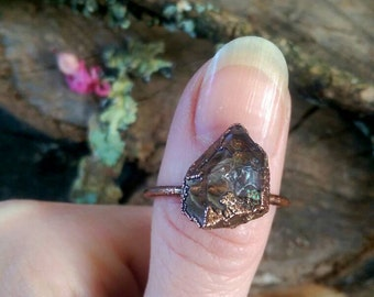 Tibetan Quartz Point and Raw Copper Ring