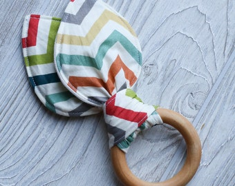 Flash sale!  Chevron Organic bunny ear teether ring toy with crinkle material.  Ready to ship.