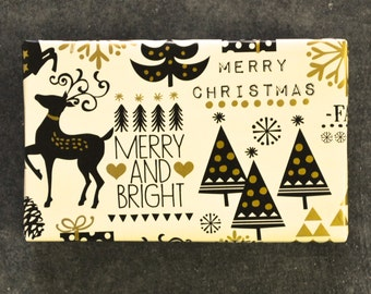 Merry and Bright Gold and Black Christmas Wrapping Paper, 2 x 10 Feet