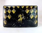Art Deco Shabby Chic Tin, Vintage Diana the Huntress Harlequin Black & Gold Diamonds 1920s Biscuit or Sweet Tin