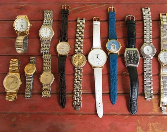 1 - Watch Lot Mens Womens 12 Non Working Gruen Christmas Snowman