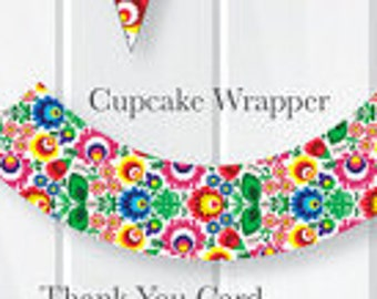 INSTANT DOWNLOAD Fiesta Bridal Shower Party Cupcake Wrappers, Mexican Theme Cupcake Liners, Fiesta Printables, Fiesta Decorations