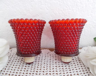 Vintage Red Candleholder Glass Sconce Candle Holder Tea Light Votive Small Pillar Mid Century Retro Country Farmhouse Christmas Home Decor