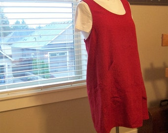 Ready to ship, Petite, Red Med/Large size 10/12 pinafore, Pure linen apron, Unisex work apron, Potters and artists Smock
