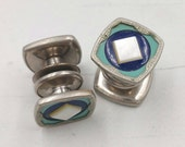 Art Deco Snap Cufflinks in Navy Teal Pearl Snapper Cuff Links, 1930's Men's Jewelry Gifts Accessories