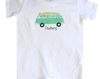 VW Surf Van Beach Baby Romper VW Bus Surfing