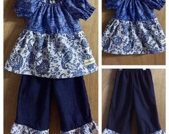 Cotton Boho/Hippie Peasant Top and Denim Ruffle Pants, size 18 months