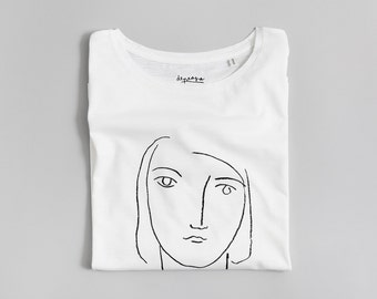 Face White T-shirt, organic cotton, screenprinted, tees, women's clothing, woman top, fashion, gifts for her, designed by Depeapa