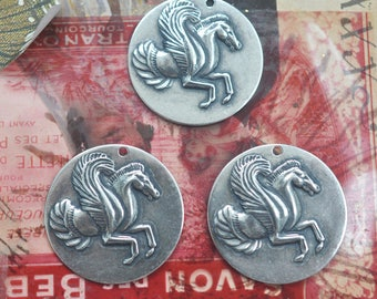 THREE 27mm Pegasus Brass Coin Charms, Sterling Silver Finish
