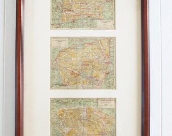 Vintage Paris France Map, Arrondissement Map of French Streets, Paris Map, Paris Streets, Art, Artwork, wall decor, vintage map, street map