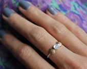 Sterling silver ring, Moonstone ring, mermaid ring, stacking ring - available in Opal, Turquoise. Moonstone, Pearl and more!