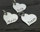 stainless steel heart charm, add on- personalize your own custom charm by Miss Ashley Jewelry