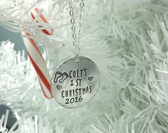 Baby's First Christmas- Hand Stamped Personalized Christmas Ornament by Miss Ashley Jewelry