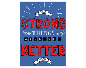 Stay Strong | printable miniposter A4 and US letter format | by-laura