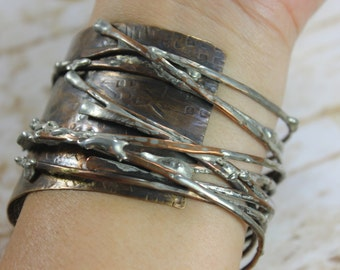 Large Hammered and Soldered Copper Bangle Bracelet, Rustic, Wild, Whimsical, Birch Twigs