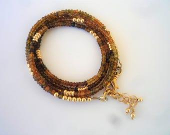 Gemstone bracelet/necklace, Petrol Tourmaline necklace, Petrol Tourmaline bracelet, Long necklace,Multi strand bracelet,Bohemian chic.