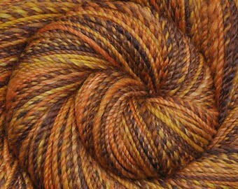 Hand spun yarn - Hand painted Silk / Falkland wool, DK weight - 265 yards - Beekeeper