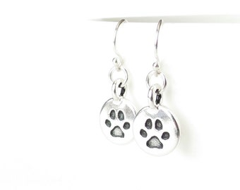Loss of a pet gift, dog paw print earrings with silver French ear wires, cat lover jewellery, animal themed accessories