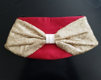 Bow Clutch - Red Silk Body with Champagne Sequin Bow, Black Lining, Black Zipper