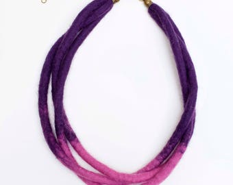 Felt Necklace, 3 Strand Necklace, Purple and Pink Necklace